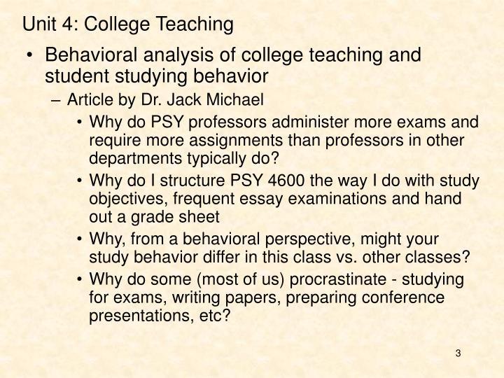 Unit 4 college teaching
