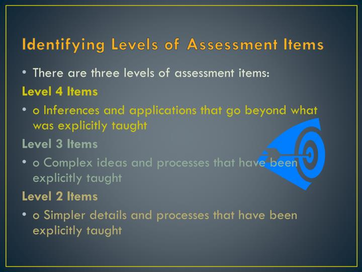 Identifying Levels of Assessment Items