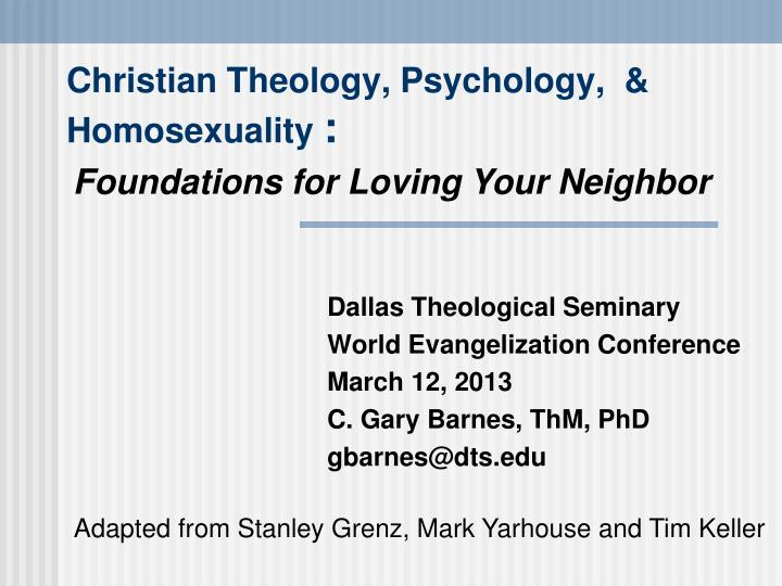 Christian theology psychology homosexuality