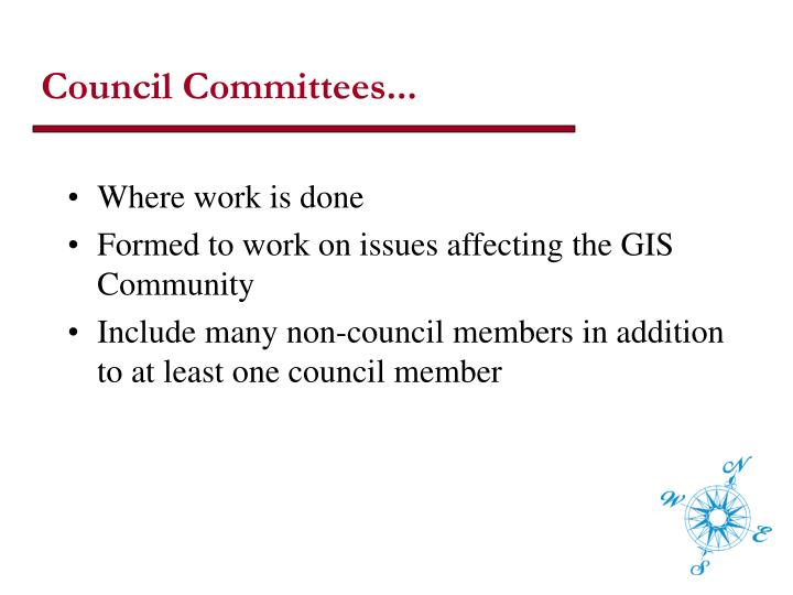 Council Committees...