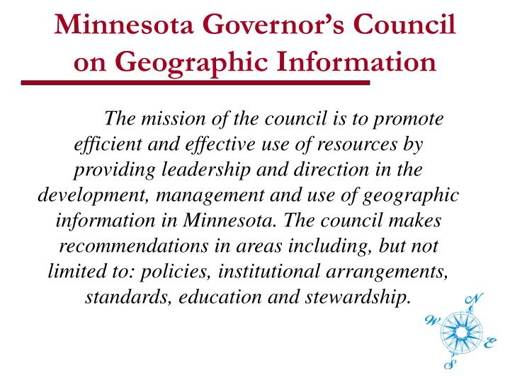 Minnesota governor s council on geographic information