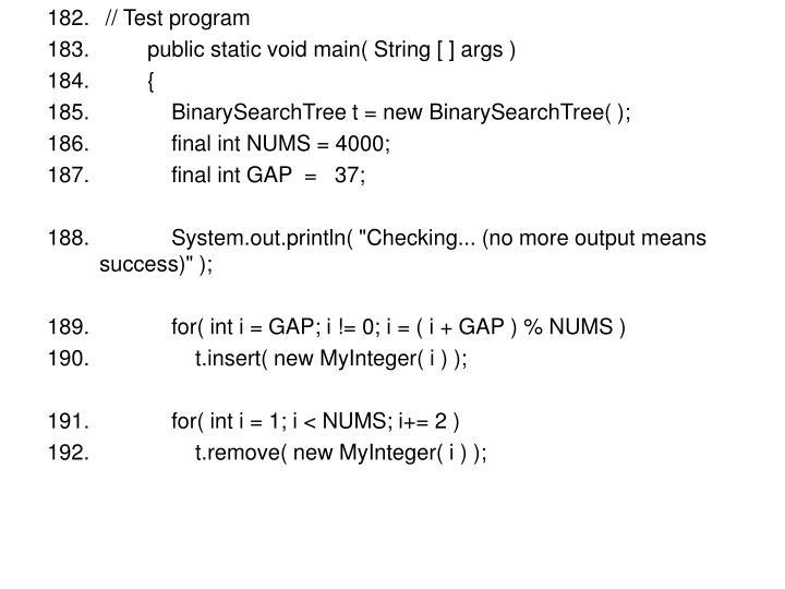 // Test program