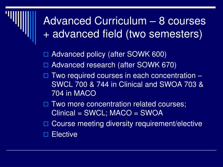 Advanced Curriculum – 8 courses + advanced field (two semesters)
