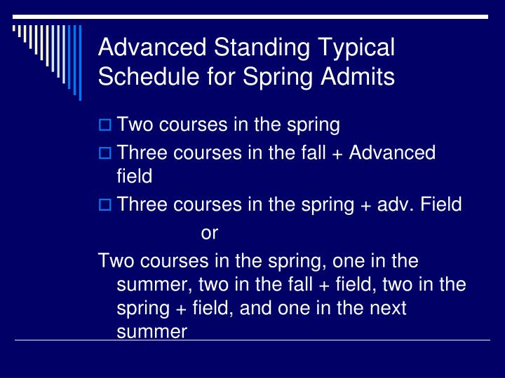 Advanced Standing Typical Schedule for Spring Admits