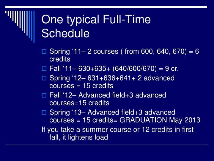 One typical Full-Time Schedule