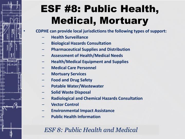 ESF #8: Public Health, Medical, Mortuary