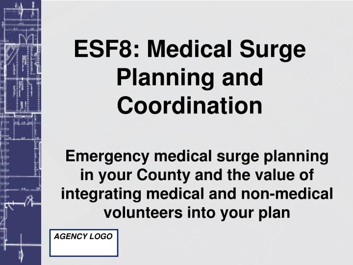 ESF8: Medical Surge Planning and