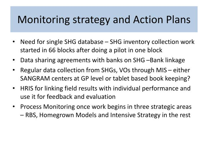 Monitoring strategy and Action Plans
