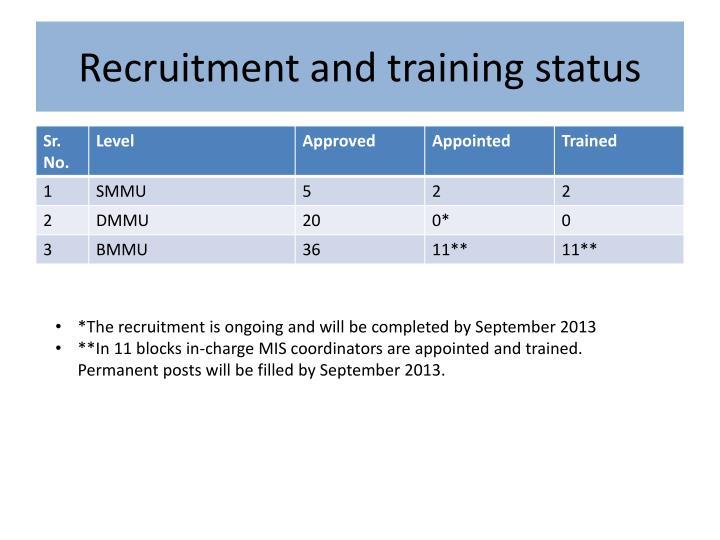 Recruitment and training status