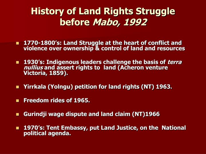 History of Land Rights Struggle before