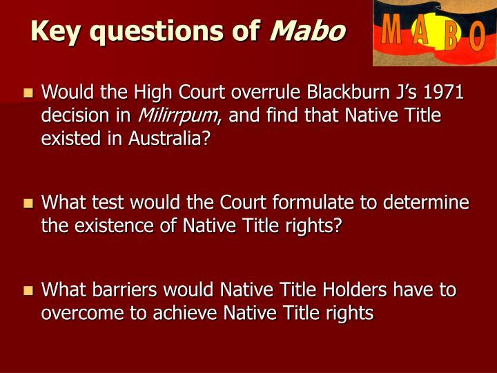 Key questions of
