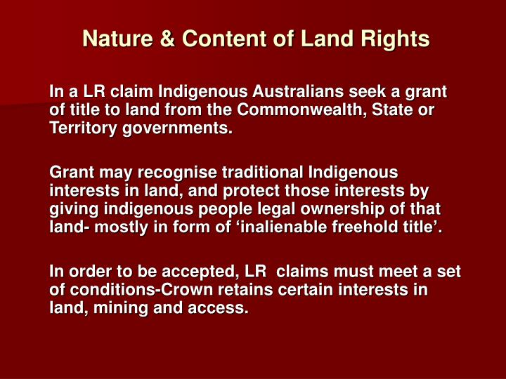 Nature & Content of Land Rights