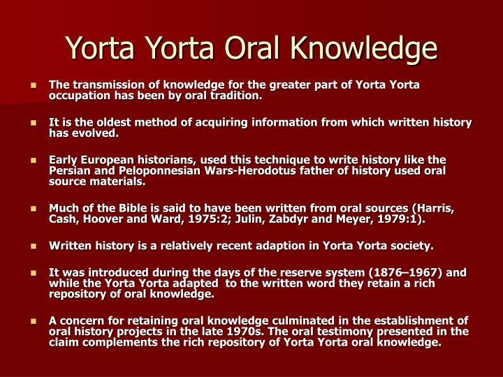 Yorta Yorta Oral Knowledge