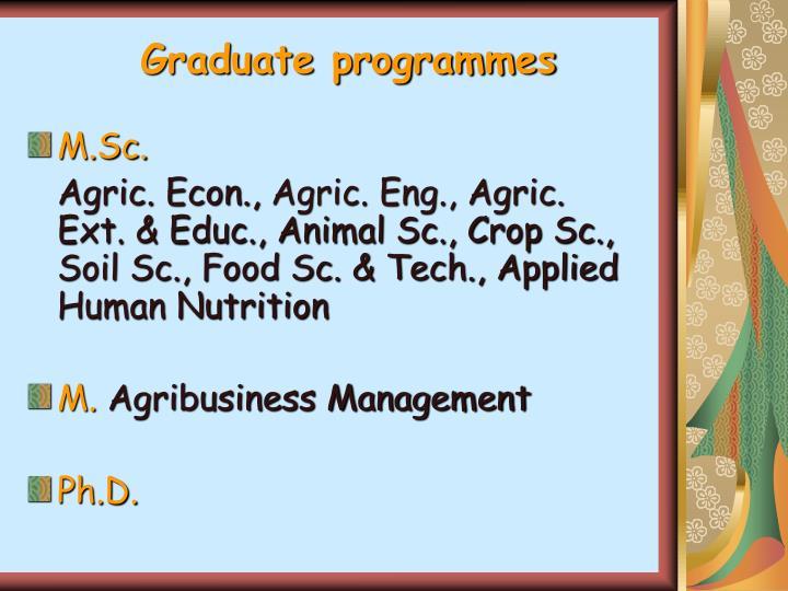 Graduate programmes
