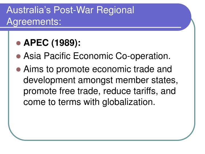 Australia's Post-War Regional Agreements: