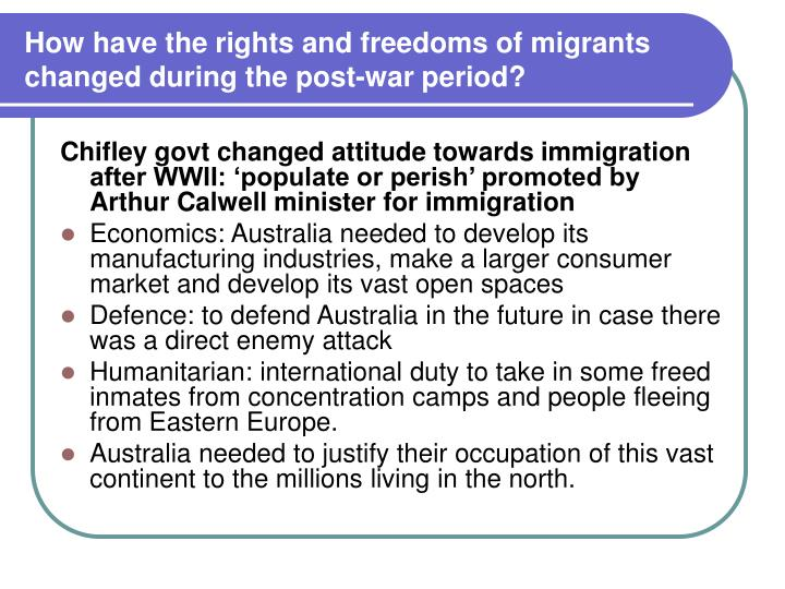 How have the rights and freedoms of migrants changed during the post-war period?