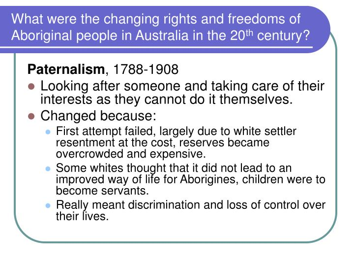 What were the changing rights and freedoms of Aboriginal people in Australia in the 20