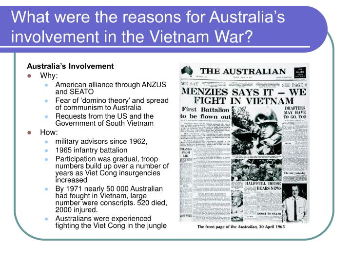 What were the reasons for Australia's involvement in the Vietnam War?