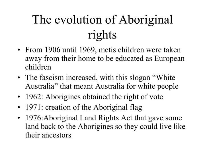 The evolution of Aboriginal rights
