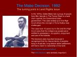 the mabo decision 1992 the turning point in land rights issue