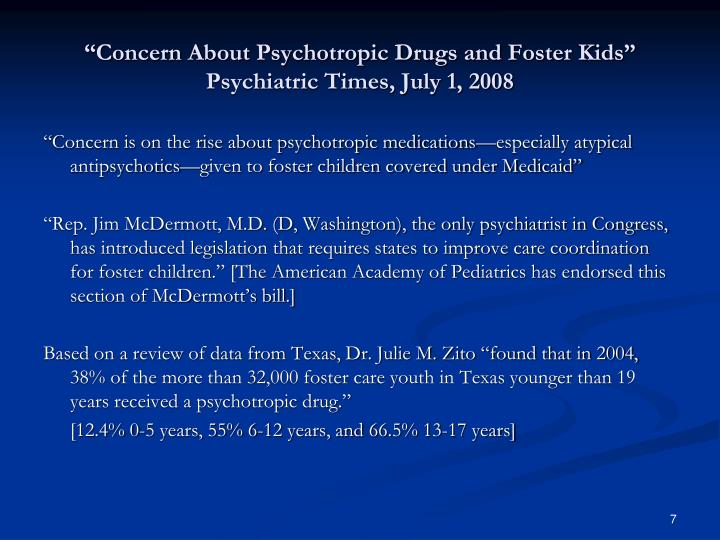 """""""Concern About Psychotropic Drugs and Foster Kids"""""""