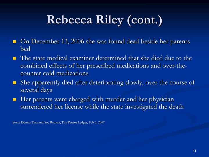 Rebecca Riley (cont.)
