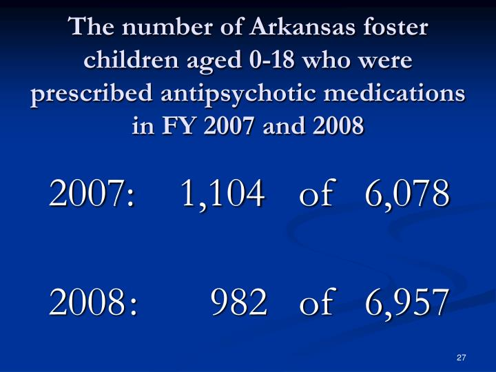 The number of Arkansas foster children aged 0-18 who were prescribed antipsychotic medications in FY 2007 and 2008