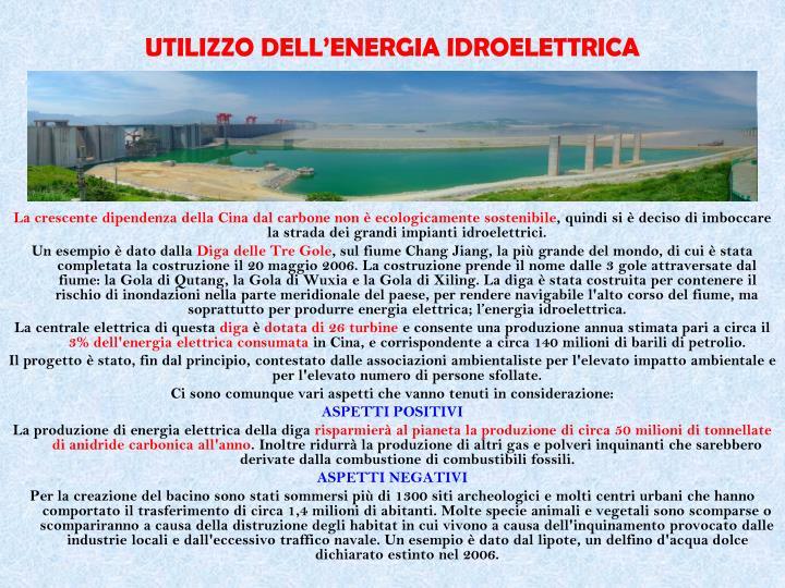 UTILIZZO DELL'ENERGIA IDROELETTRICA