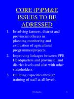 core p pm e issues to be adressed