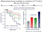 high normal serum creatinine is a predictor of cv risk in eh the piuma study