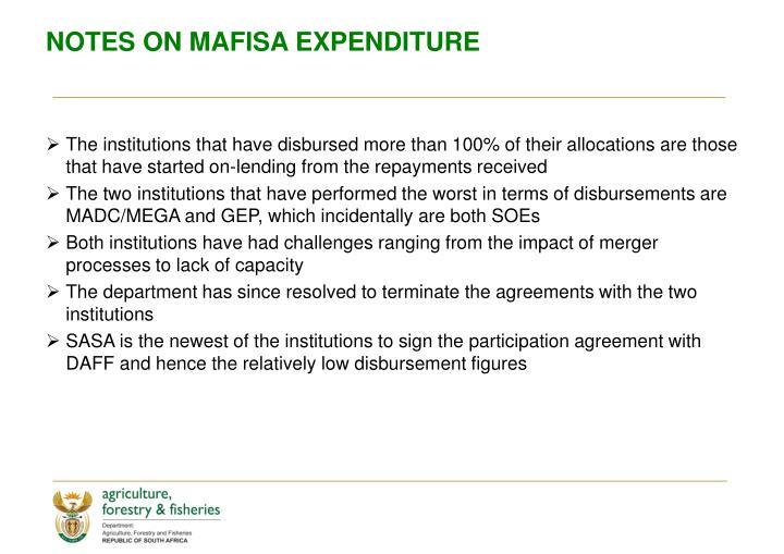 NOTES ON MAFISA EXPENDITURE