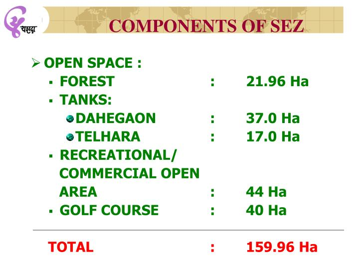 COMPONENTS OF SEZ