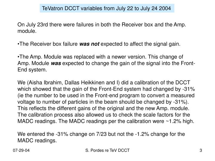 TeVatron DCCT variables from July 22 to July 24 2004