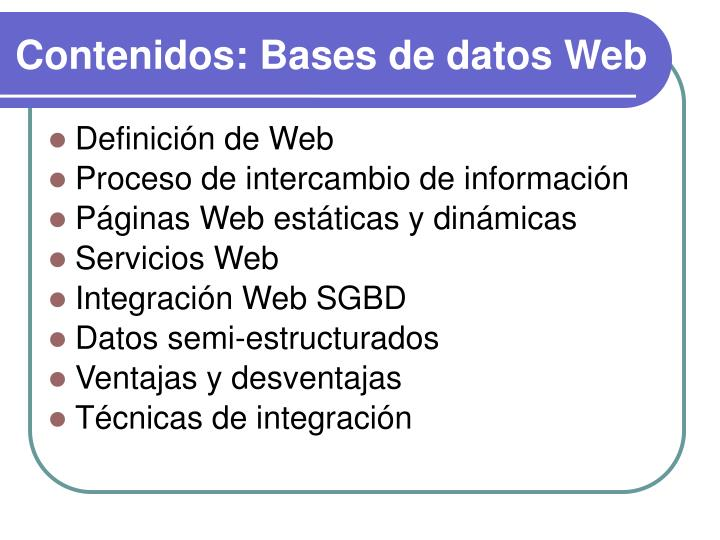 Contenidos bases de datos web