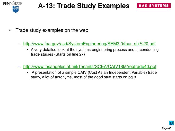 A-13: Trade Study Examples