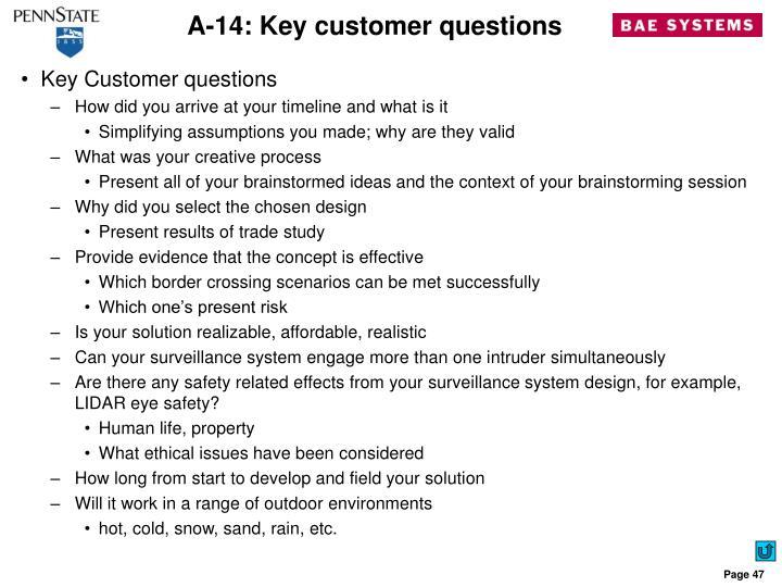 A-14: Key customer questions