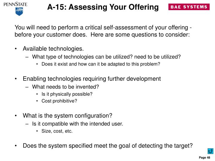 A-15: Assessing Your Offering