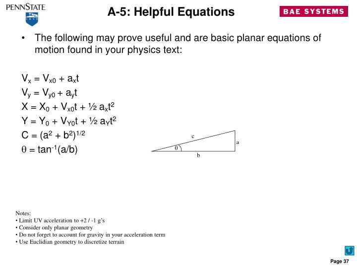 A-5: Helpful Equations
