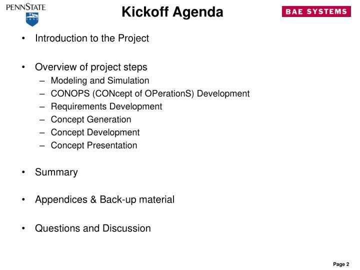 Kickoff agenda