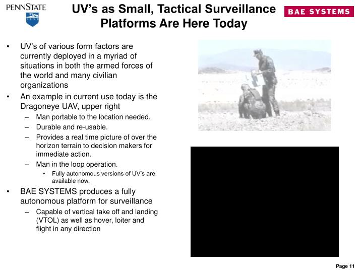 UV's as Small, Tactical Surveillance Platforms Are Here Today