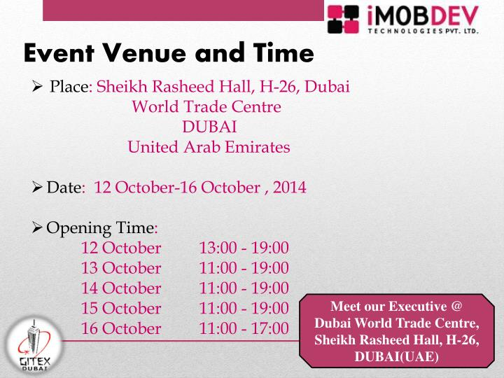 Event Venue and Time