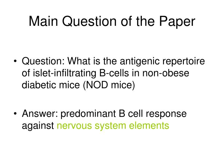 Main Question of the Paper