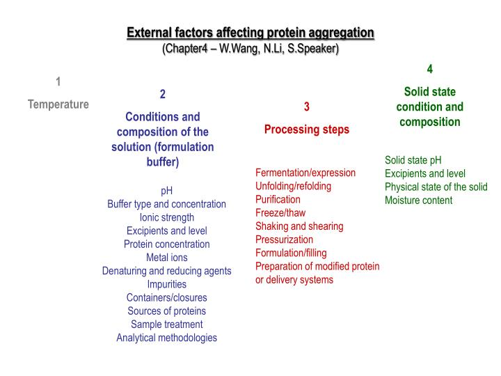External factors affecting protein aggregation