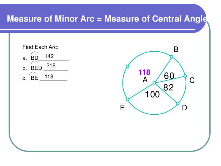 Find Each Arc: