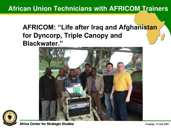 African Union Technicians with AFRICOM Trainers