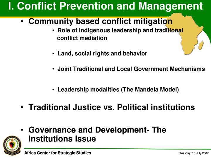 I. Conflict Prevention and Management
