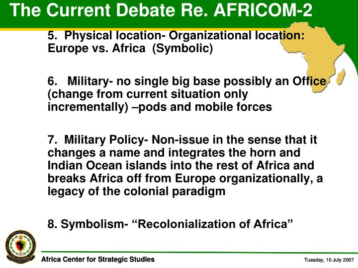 The Current Debate Re. AFRICOM-2