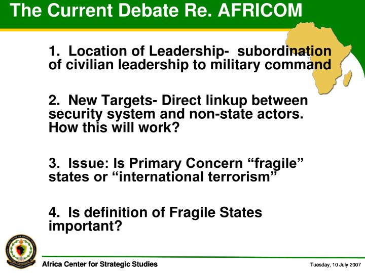 The Current Debate Re. AFRICOM