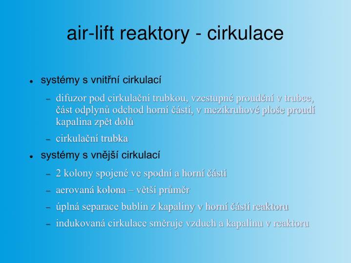 air-lift reaktory - cirkulace