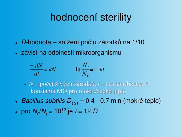 hodnocení sterility